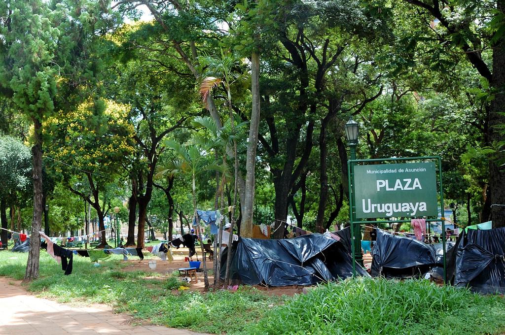 Сквер на Уругвайской площади оккупирован бомжами чуть меньше, чем полностью