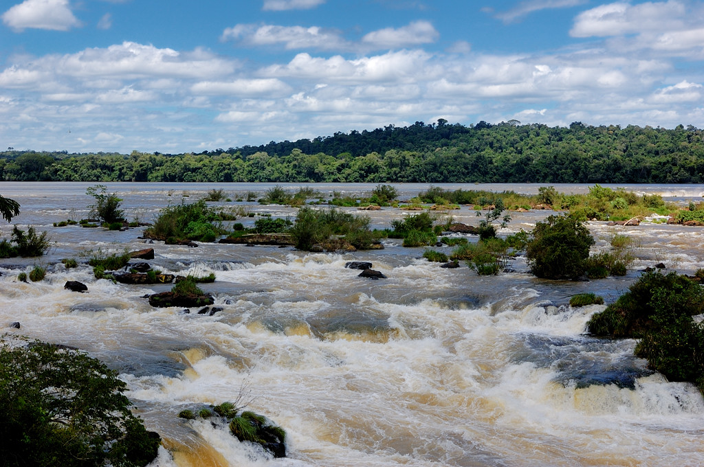 Вид с башни на реку перед водопадом