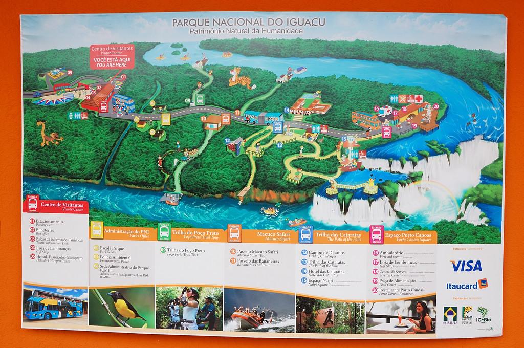 Схема бразильской части водопадов