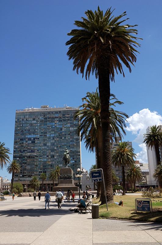 На Площади Независимости. Пальма и здание Edificio Ciudadela