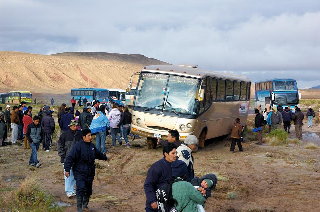 Автобусы, переваливаясь на кочках, едут к реке