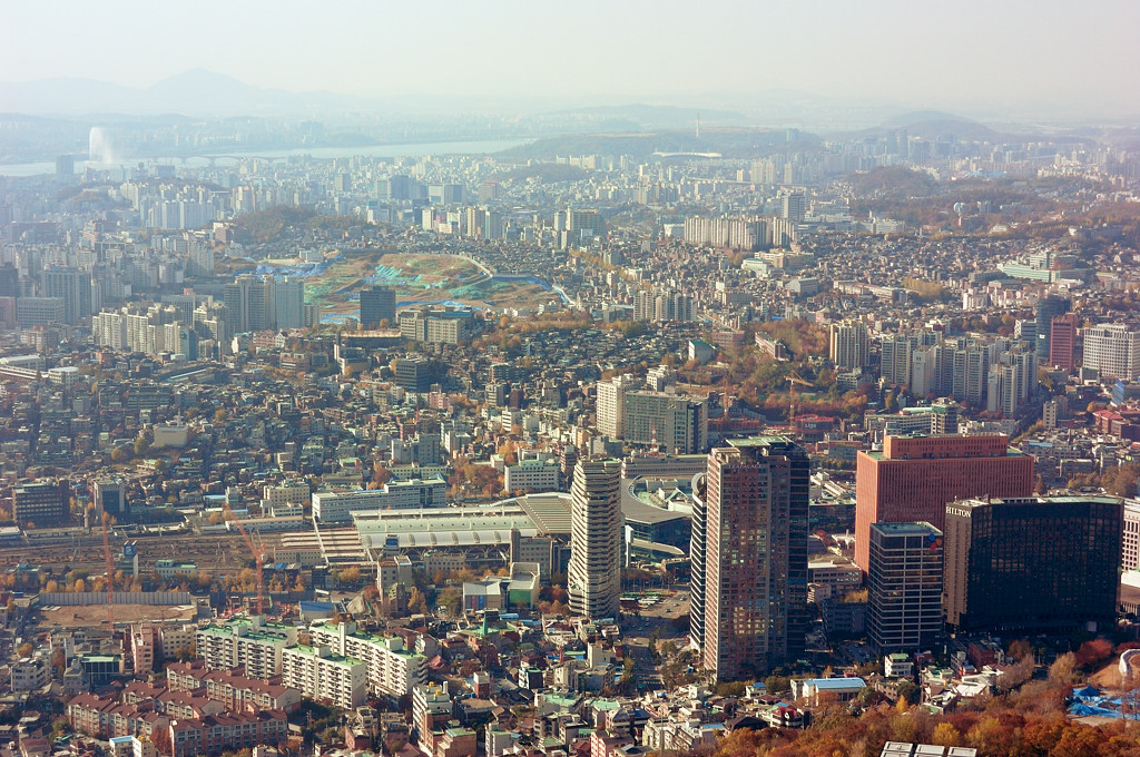 Вид на Сеул с телебашни
