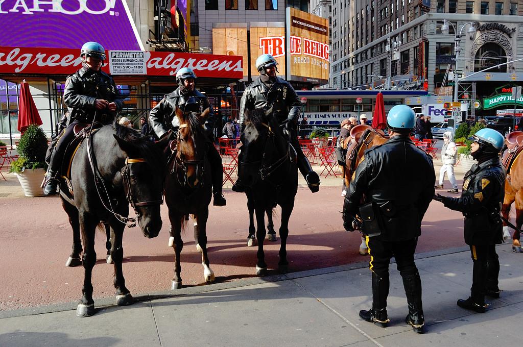 Конная полиция на Таймс-сквер