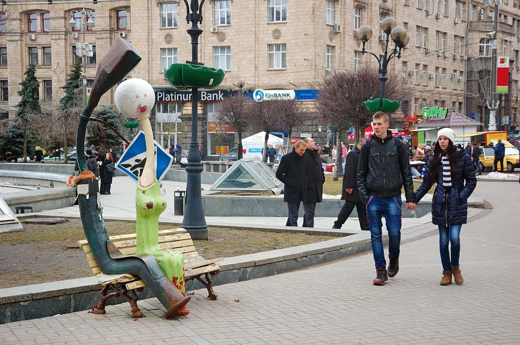 Вот такие скульптуры на Майдане :)