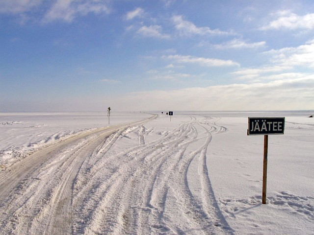 Хийумаа. У выезда на ледовую дорогу Хийумаа-Сааремаа в Tärkma
