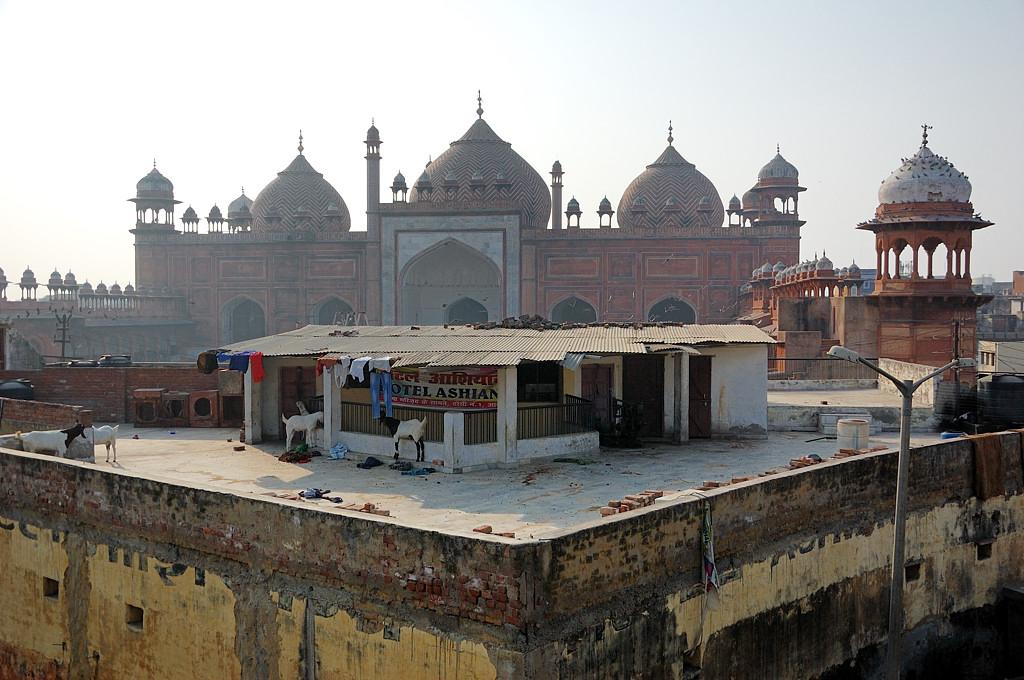 Центральная мечеть Агры. На крыше мечети - гостиница