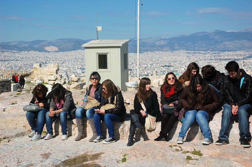 Туристы на Акрополе