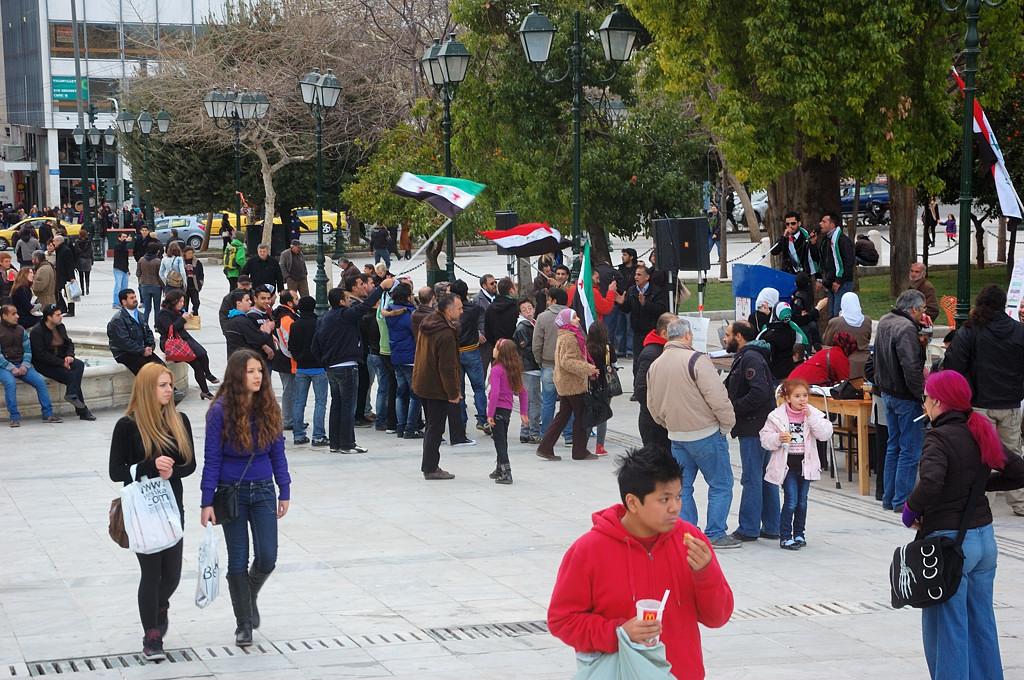 На площади Синтагма митингуют сирийские боевики