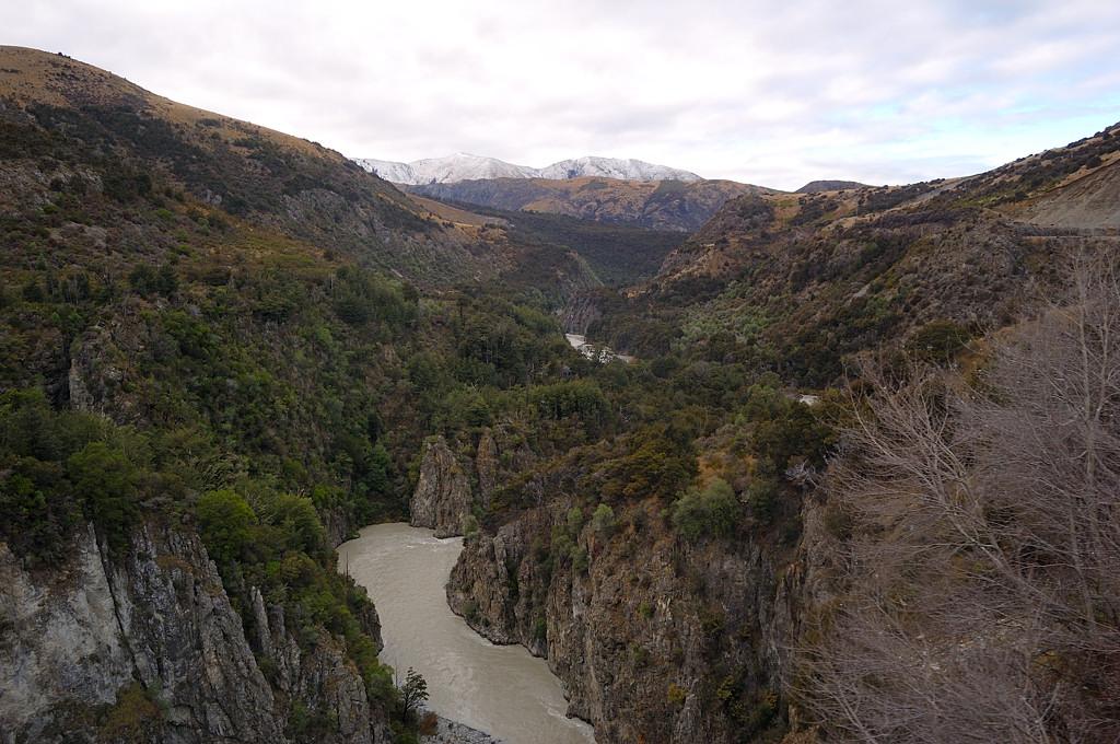 Поезд идет вдоль ущелья реки Ваймакарири