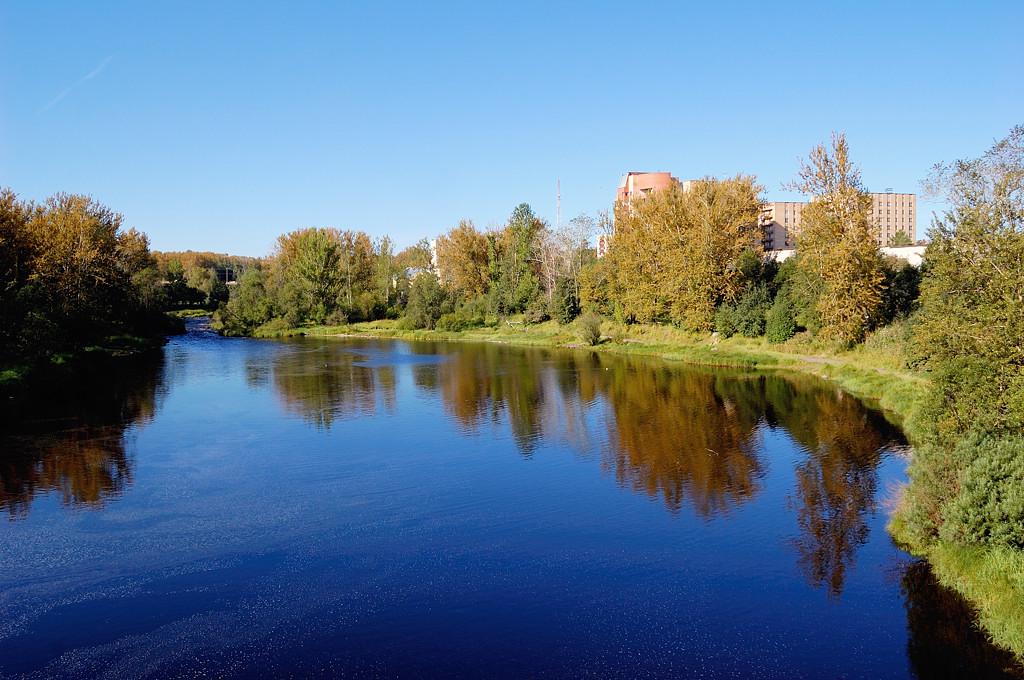 Речка Лососинка, вид с моста на ул. Антикайнена