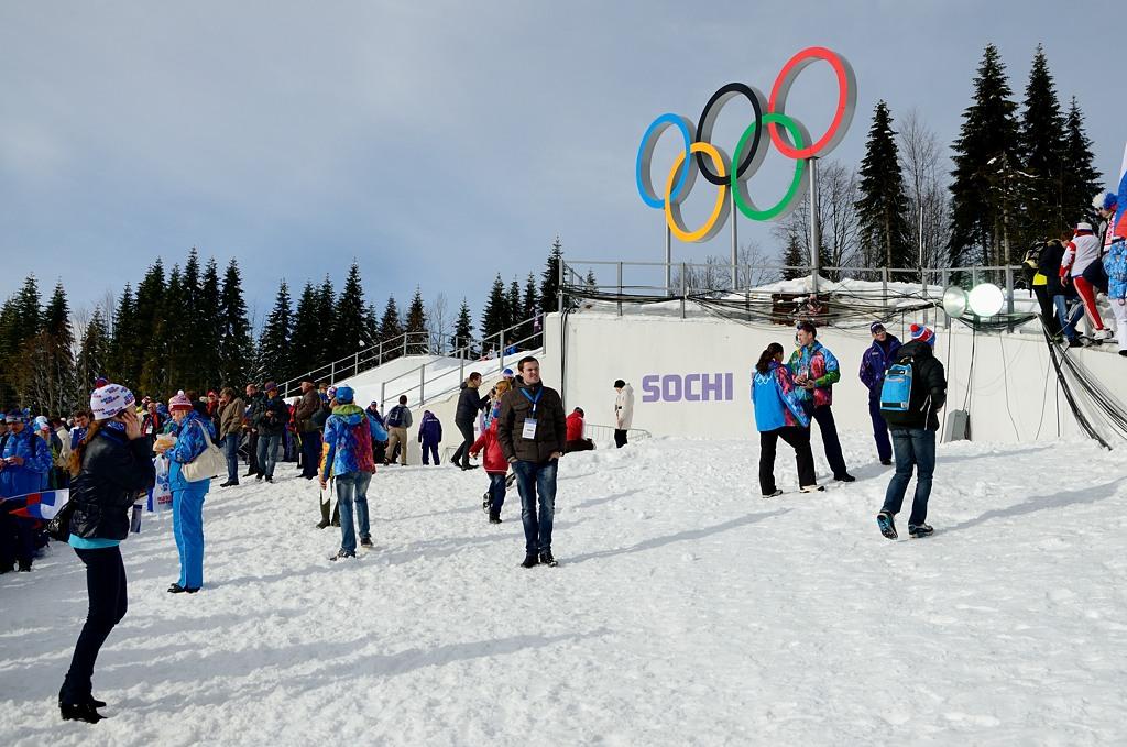 Лыжный стадион Лаура. Под олимпийскими кольцами