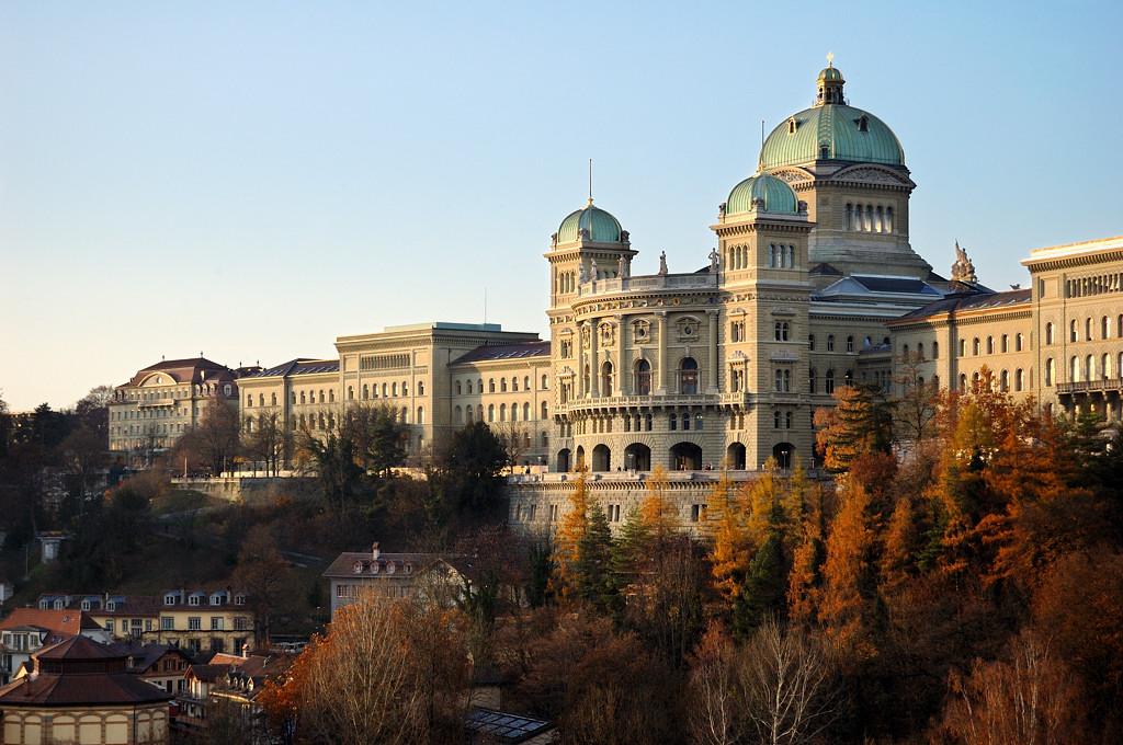 Вид на парламент Швейцарской Конфедерации с моста Кирхенфельдбрюкке